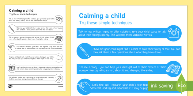 Calming a Child Leaflet - calming, child, leaflet, reassure, calm
