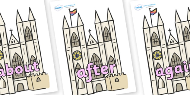KS1 Keywords on Churches - KS1, CLL, Communication language and literacy, Display, Key words, high frequency words, foundation stage literacy, DfES Letters and Sounds, Letters and Sounds, spelling