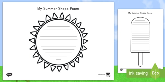 Summer shape poetry poetry shapes template summer writing summer shape poetry poetry shapes template summer writing poem maxwellsz