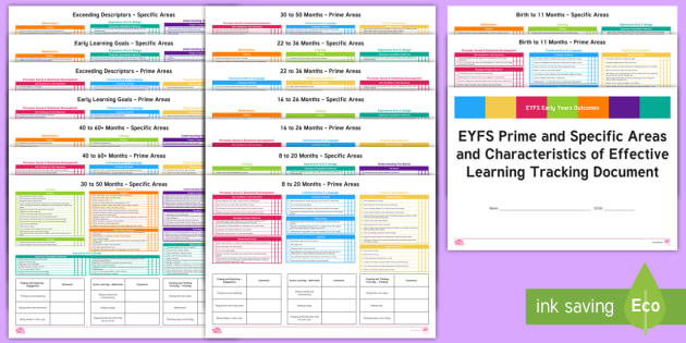 eyfs prime and specific areas and coel tracking document