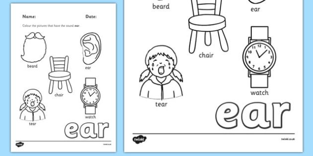 Phase 3 Trigraph Colouring Sheets ear - phase 3, trigraph, colouring, sheets, ear