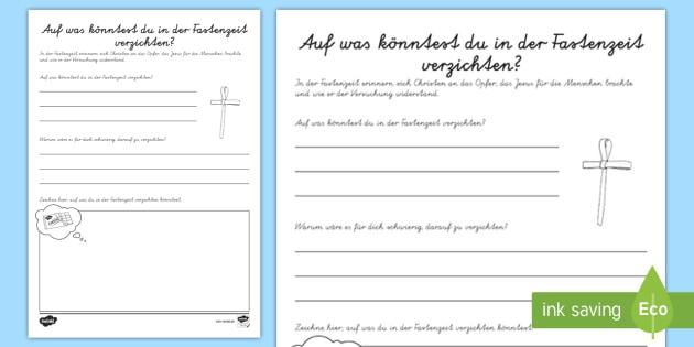 Fastenzeit Arbeitsblatt - Fasten, Ostern, Aschermittwoch