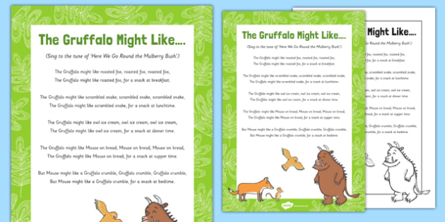 The Gruffalo Might Like... Song to Support Teaching on The Gruffalo -Julia Donalson, Axel Scheffler, The Gruffalo, The Gruffalo's Child, songs, rhymes