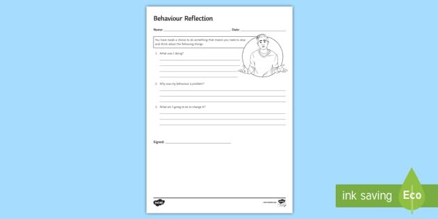 Behaviour Reflection (Alternate Version) Activity Sheet - Behaviour, classroom management, Refection, self- reflection, pastoral