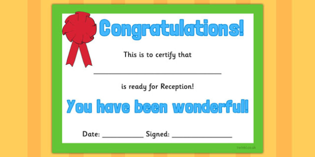 Ready for Reception Certificate - ready, reception, certificate, award