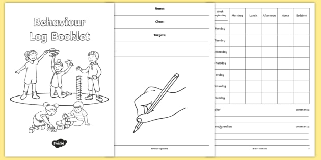 Behaviour log booklet behaviour good behaviour reward for Behaviour log template