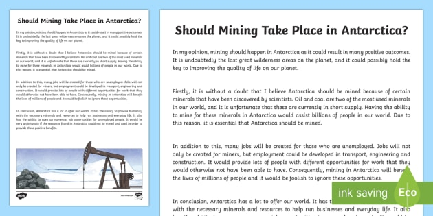 Antarctica Should Be Mined Exposition Writing Sample Literacy