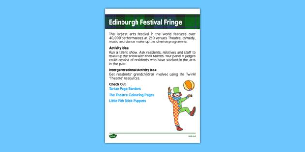 Elderly Care Calendar Planning August 2016 Edinburgh Festival - Elderly Care, Calendar Planning, Care Homes, Activity Co-ordinators, Support, August 2016