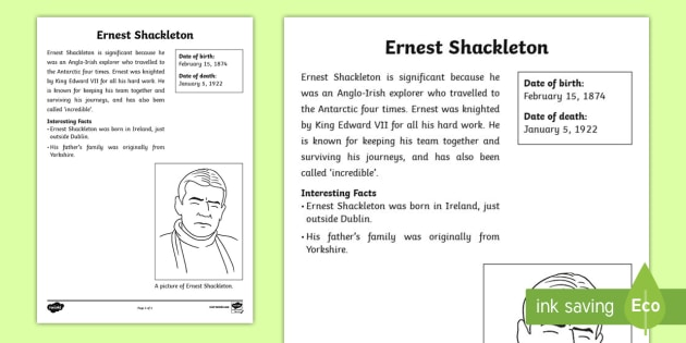 Ernest Shackleton Significant Individual Fact Sheet - fact sheet