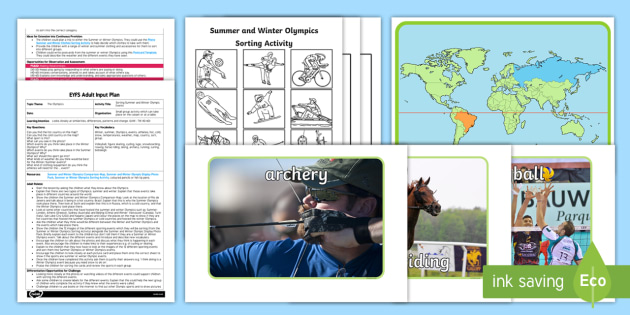 EYFS Sorting Summer and Winter Olympic Events Adult Input Plan and Resource Pack - Rio, Olympics, winter, summer, understanding the world, comparing, similarities and differences, events, sports, EYFS planning, adult input plan