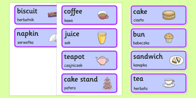 Royal Afternoon Tea Role Play Labels Polish Translation - polish, royal, afternoon tea, role play, labels