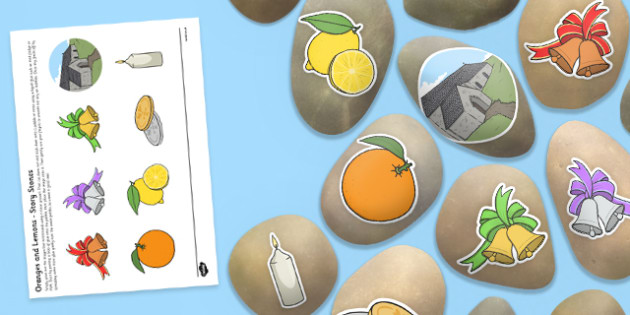 Oranges and Lemons Story Stones Image Cut-Outs - rhyme, song, fruit,