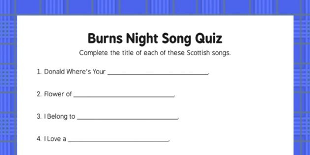 Burns Night Song Quiz - Elderly, Reminiscence, Care Homes, Burns' Night