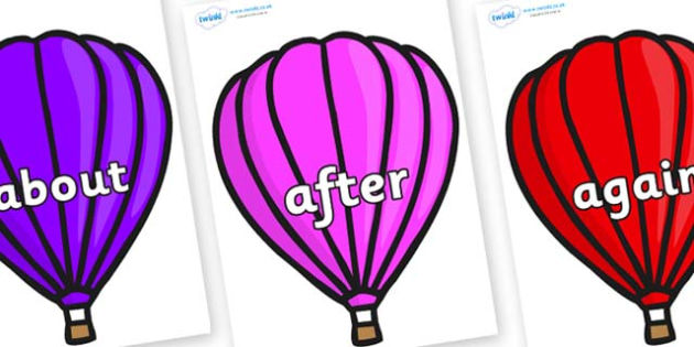 KS1 Keywords on Hot Air Balloons (Plain) - KS1, CLL, Communication language and literacy, Display, Key words, high frequency words, foundation stage literacy, DfES Letters and Sounds, Letters and Sounds, spelling