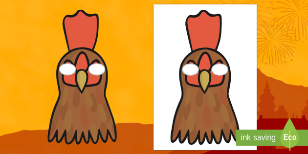 Year of the Rooster Mask - Chinese New Year KS1. KS2, EYFS, Celebration, festivals, rooster, mask, role play