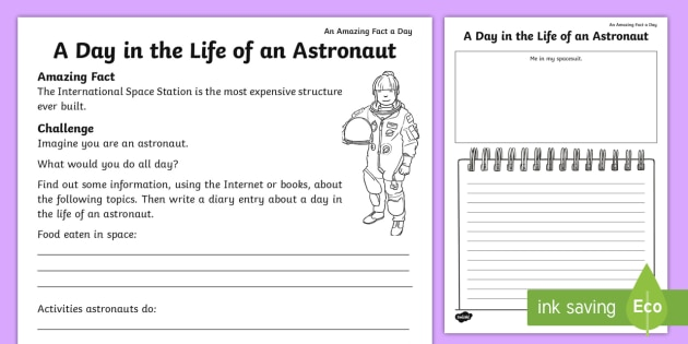 diary writing template ks1 - a day in the life of an astronaut worksheet activity sheet
