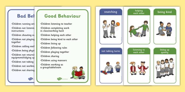 Good Bad Behaviour Flashcards With Words - good behaviour, flashcards, bad behaviour, words