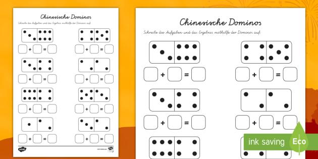 Addieren mit chinesischen Dominos Arbeitsblatt-German - rechnen