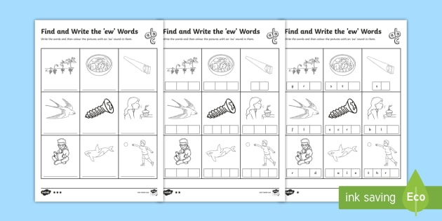 Find and Write the ew Words Differentiated Worksheet / Worksheets