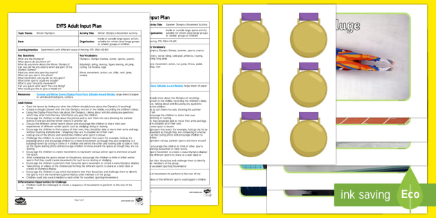 EYFS Olympic Movement Activities Adult Input Plan and Resource Pack - Olympics, summer, sports, events, team/partner/individual, winner, Rio, countries, world, Athletes