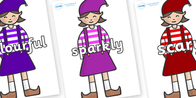Wow Words on Elf (Girl) - Wow words, adjectives, VCOP, describing, Wow, display, poster, wow display, tasty, scary, ugly, beautiful, colourful sharp, bouncy