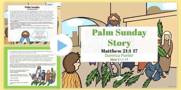 Palm Sunday Story PowerPoint Romanian Translation - romanian, christianity, powerpoints, stories