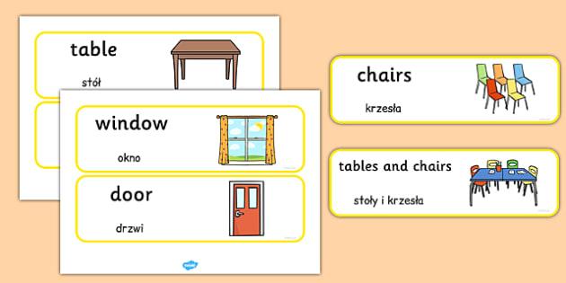 Classroom Furniture Labels Polish Translation - polish, classroom furniture, labels, class