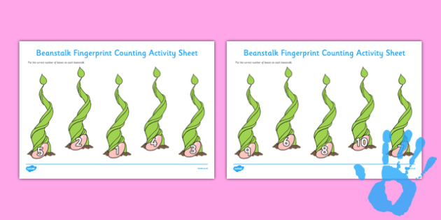Beanstalk Fingerprint Counting Activity Sheet Pack - EYFS activities, number, EAD, plants, fruit, growth, Jack and the Beanstalk, Jasper's Beanstalk, worksheet