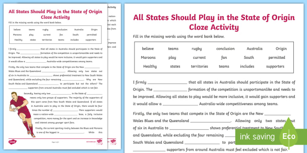 State Of Origin Cloze Worksheet Activity Sheet Australia
