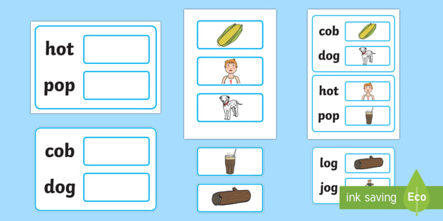 Workstation Pack:  Picture to CVC (o) Two Word Matching Activity