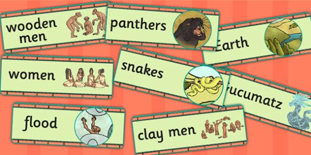 Mayan Civilization Creation Story Word Cards - ancient maya, maya