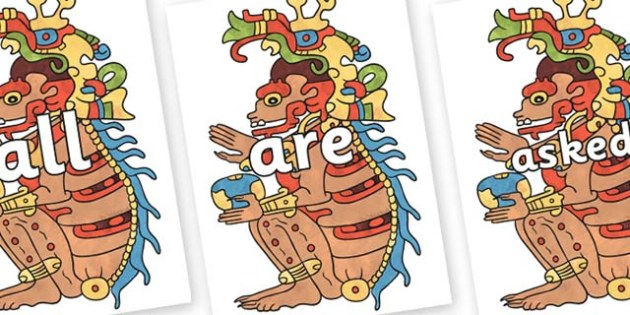 Tricky Words on Ah Puch - Tricky words, DfES Letters and Sounds, Letters and sounds, display, words