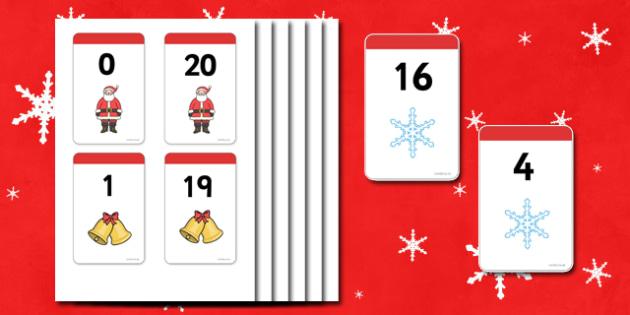 Christmas Number Bonds to 20 Matching Cards - Number Bonds, Matching Cards, Clothing Cards, Number Bonds to 20, Christmas, xmas, tree, advent, nativity, santa, father christmas