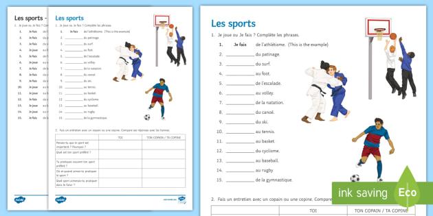 sports worksheet worksheet french sports leisure freetime passe temps. Black Bedroom Furniture Sets. Home Design Ideas