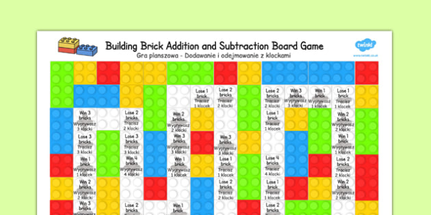 Building Brick Addition and Subtraction Board Game Polish Translation - polish, building brick, addition, subtraction, board game