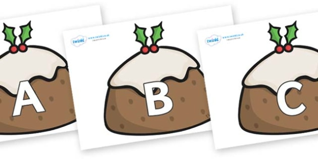 A-Z Alphabet on Christmas Puddings - A-Z, A4, display, Alphabet frieze, Display letters, Letter posters, A-Z letters, Alphabet flashcards