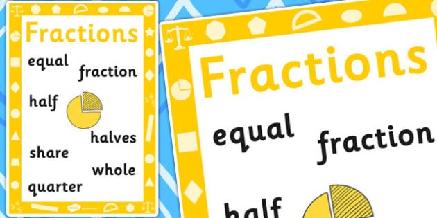 Key Stage 1 Fraction Poster - Fractions, Numbers, Maths, Poster