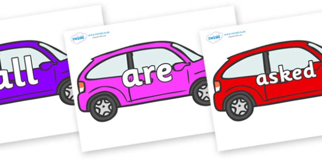 Tricky Words on Cars - Tricky words, DfES Letters and Sounds, Letters and sounds, display, words