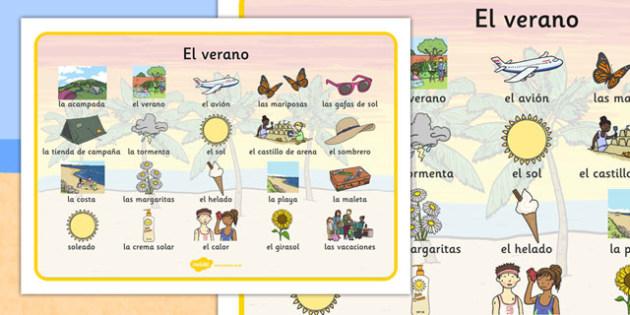 Summer Word Mat Images Spanish - spanish, Summer, holidays, word mat, writing aid, holiday, holidays, seasons, beach, sun, flowers, ice cream, sea, seaside