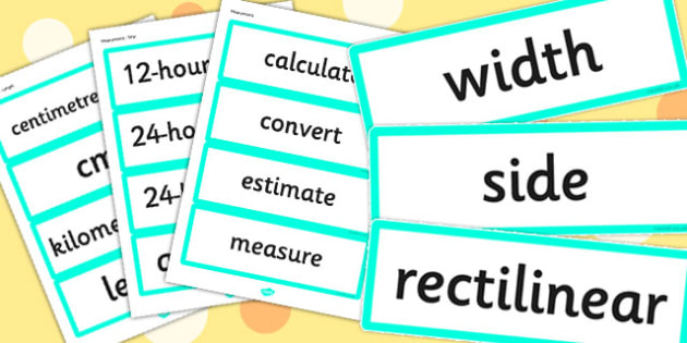 Year 4 2014 Curriculum Maths Vocabulary Cards Measurement - math