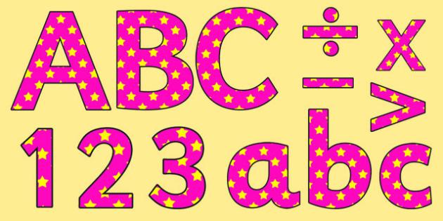 Pink and Yellow Stars Editable Display Lettering - stars, display
