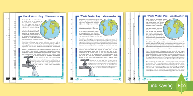 World Water Day 2018 Differentiated Reading Comprehension
