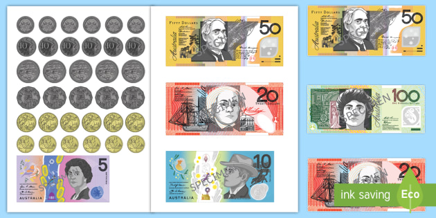 photograph relating to Printable Play Money $1 identify Australian Monetary Cutouts