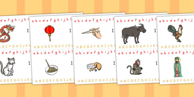 Chinese New Year Alphabet Strips - australia, alphabet, strip