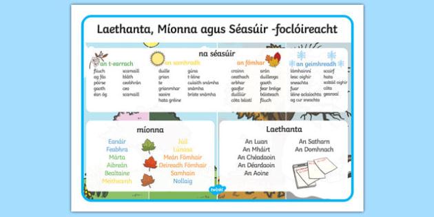 Laethanta, mata mí agus séasúir focal Gaeilge - gaeilge, days, months, year, seasons, word mat, word, mat