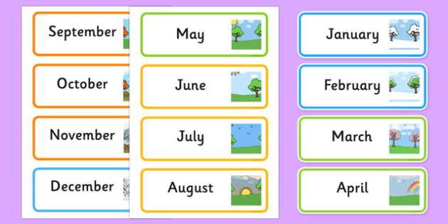 Month of the Year Word Cards - month of the year, word cards