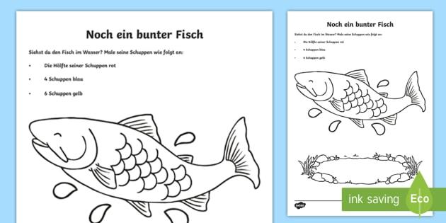 Cursive Noch ein bunter Fisch Arbeitsblatt: Erstes Zählen