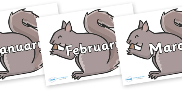 Months of the Year on Grey Squirrels - Months of the Year, Months poster, Months display, display, poster, frieze, Months, month, January, February, March, April, May, June, July, August, September