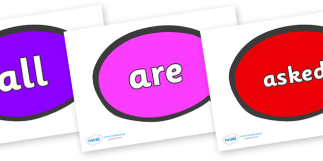 Tricky Words on Speech Bubble - Tricky words, DfES Letters and Sounds, Letters and sounds, display, words