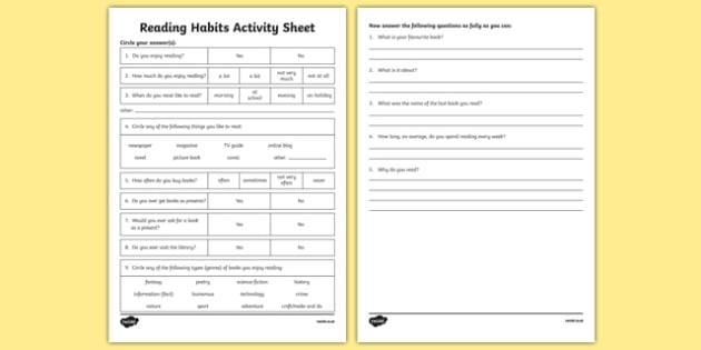Reading Habits Activity Sheet-Irish, worksheet